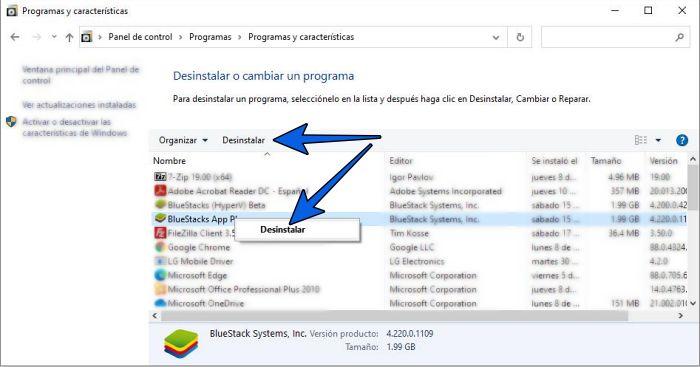 Cómo desinstalar programas en Windows 10