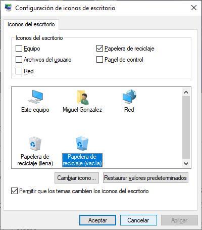 Cambiar el icono de la papelera de reciclaje en Windows
