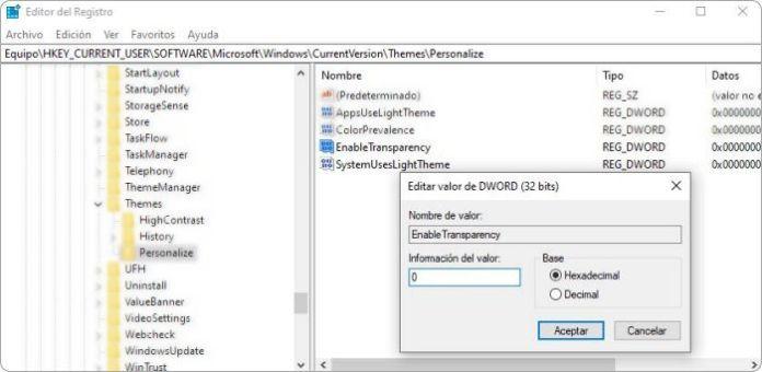 Poner el menú inicio Windows 10 más transparente