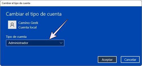 Establecer la cuenta de usuario como administrador en Windows 10