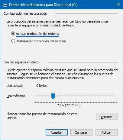 Activar restaurar sistema en Windows 10