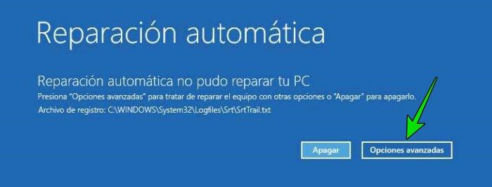 Restaurar Windows 10 a un punto anterior desde el arranque