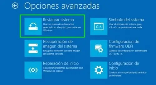 Restaurar Windows 10 a un estado anterior