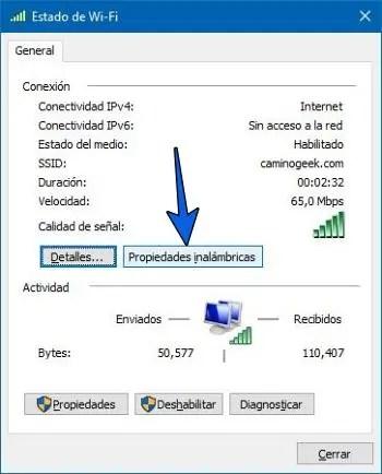 Saber la clave de la red conectada en Windows 10