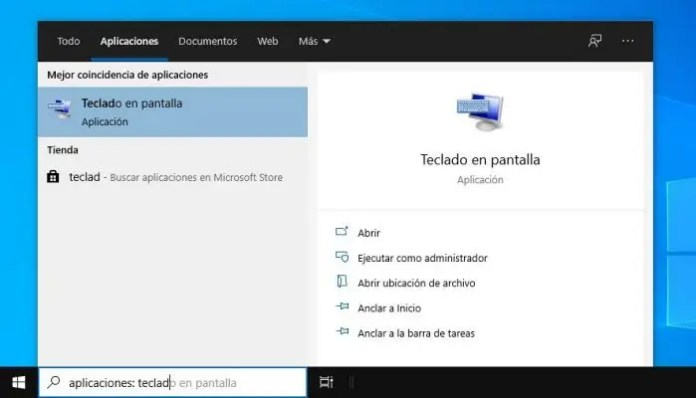 Cómo saco el teclado en pantalla en Windows 10