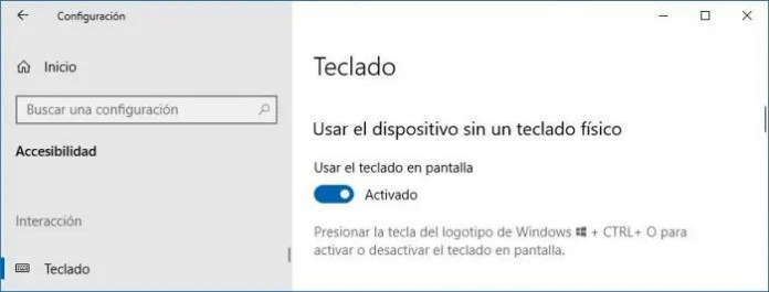 Activar teclado en pantalla de Windows 10