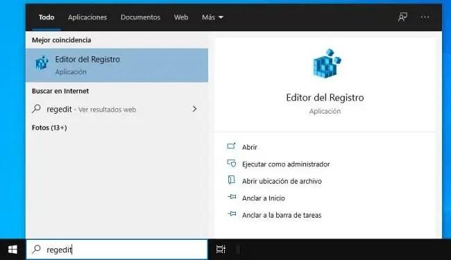 Entrar al Editor del Registro de Windows