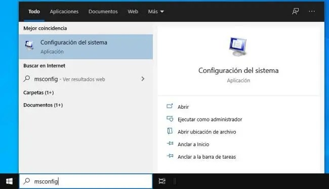 Entrando a la Configuración del sistema de Windows