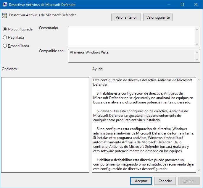 Solucionar Windows Defender no se activa en Directivas de grupo