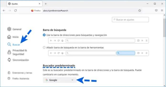Poner Google como el buscador predeterminado en Firefox