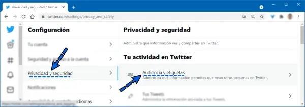 Seleccionar Privacidad y seguridad en menú de Twitter