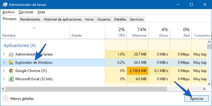 Reiniciar el Explorador de Windows que no responde