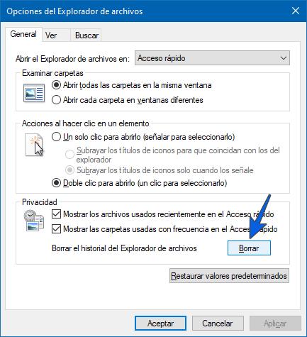 Borrar el historial de búsqueda del Explorador de archivos si no responde