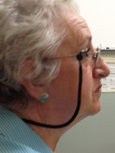 Mom listens to her oncologist, Dr. Melancon