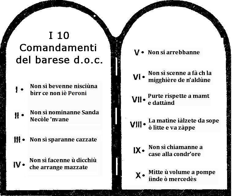 I 10 comandamenti del barese doc  Camin Vattin