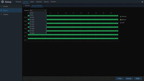 TRIVAULT4K2168 RECORDING SCHEDULE 24 CHANNELS