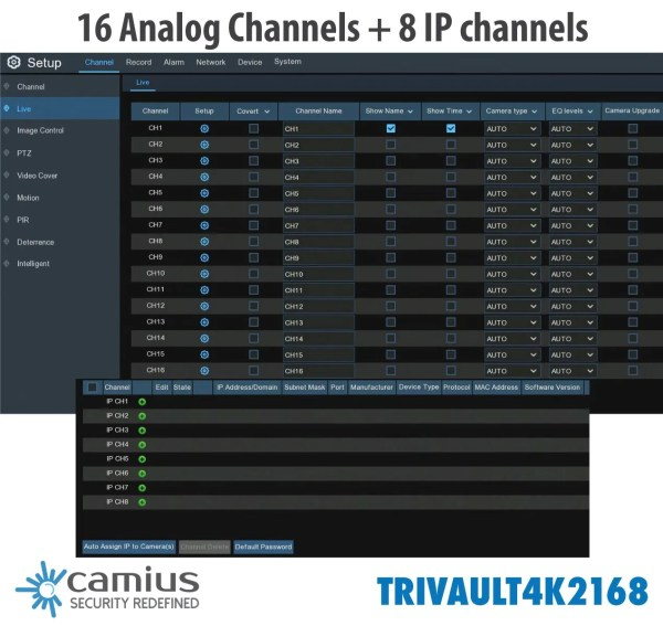 TRivault4K2168 16 analog 8 channel IP
