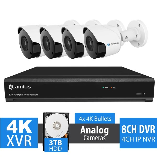 Camius Analog 8MP 4 Camera Security System with DVR 8 Channel 3TB