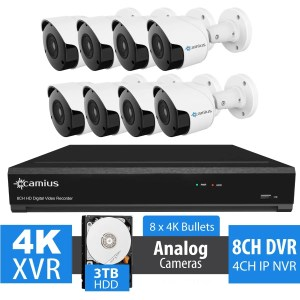 8 4K Security Cameras with 8 Channel DVR System, 3TB - 124K88M3T