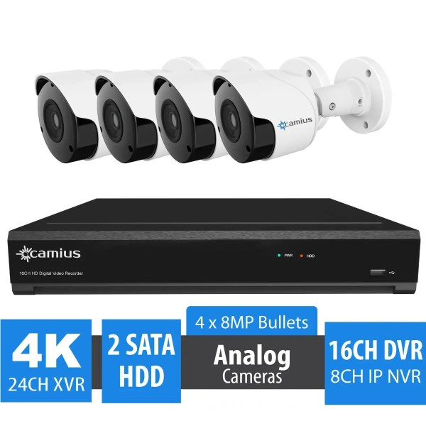 16 Channel 4K DVR Security System, 4 Outdoor 8MP Bullet Cameras