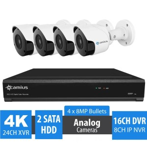 16 Channel 4K DVR Security System, 4 Outdoor 8MP Bullet Cameras