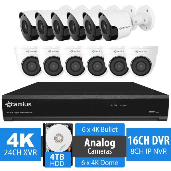 12 8MP Security Camera DVR 16 Channel System with 4TB HDD