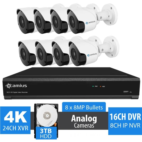 8 8MP Security Cameras with Hybrid 4K 16 Channel DVR - 3TB HDD