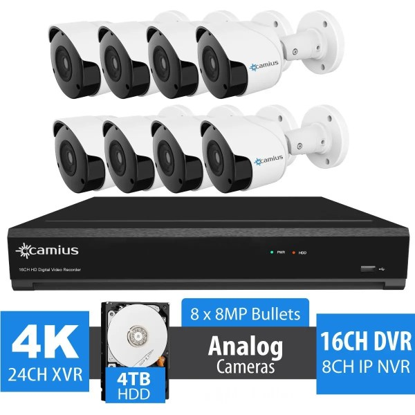 8 8MP Outdoor Cameras with 4K 16 Channel Security DVR - 4TB HDD