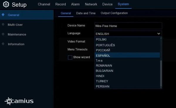 WFN6-wireless NVR languages