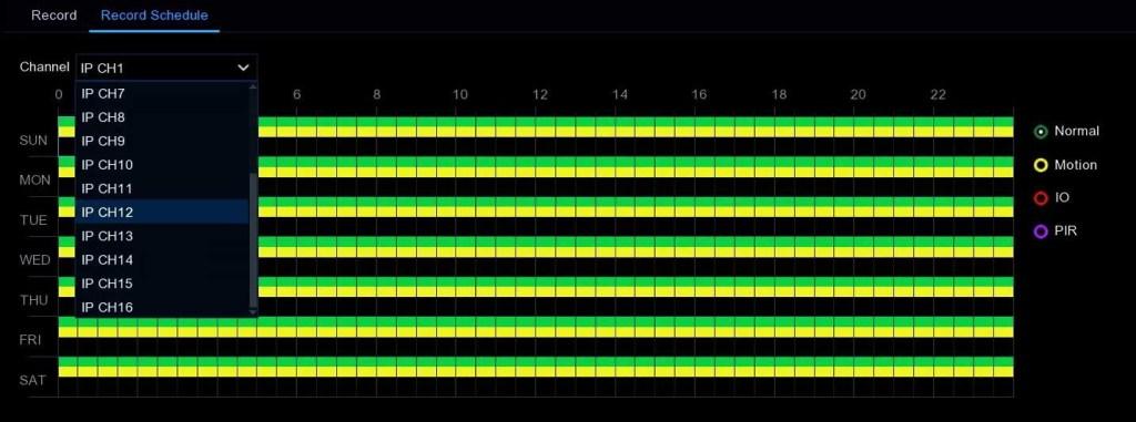 IPVAULT2320P16N 16 channel recording schedule web