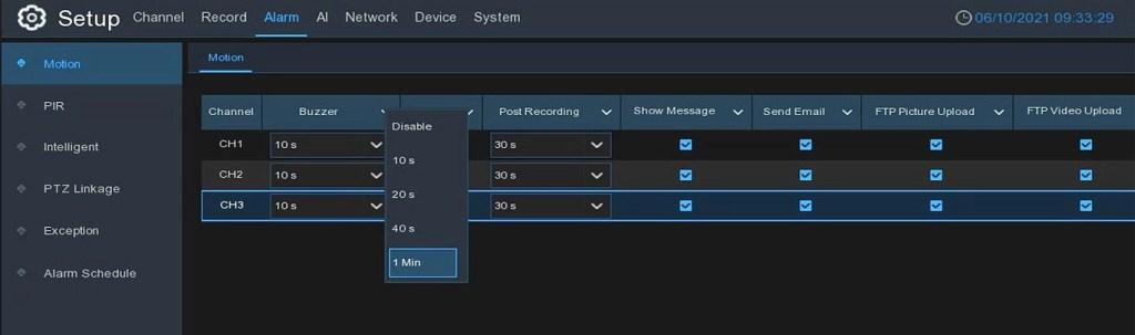 Camius 8 channel NVR IPVault1128PR motion alarm
