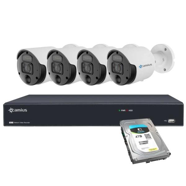 4 PoE Spotlight 4K Camera 16CH NVR System 4TB