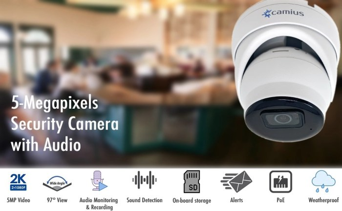 Camius poe 5MP dome security camera with audio