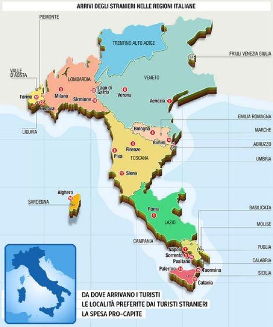 Mappa dell'Italia sulla base delle presenze di turisti stranieri. Dov'è l'Abruzzo?