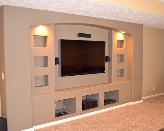 Built In Drywalled Entertainment Center (Omaha)