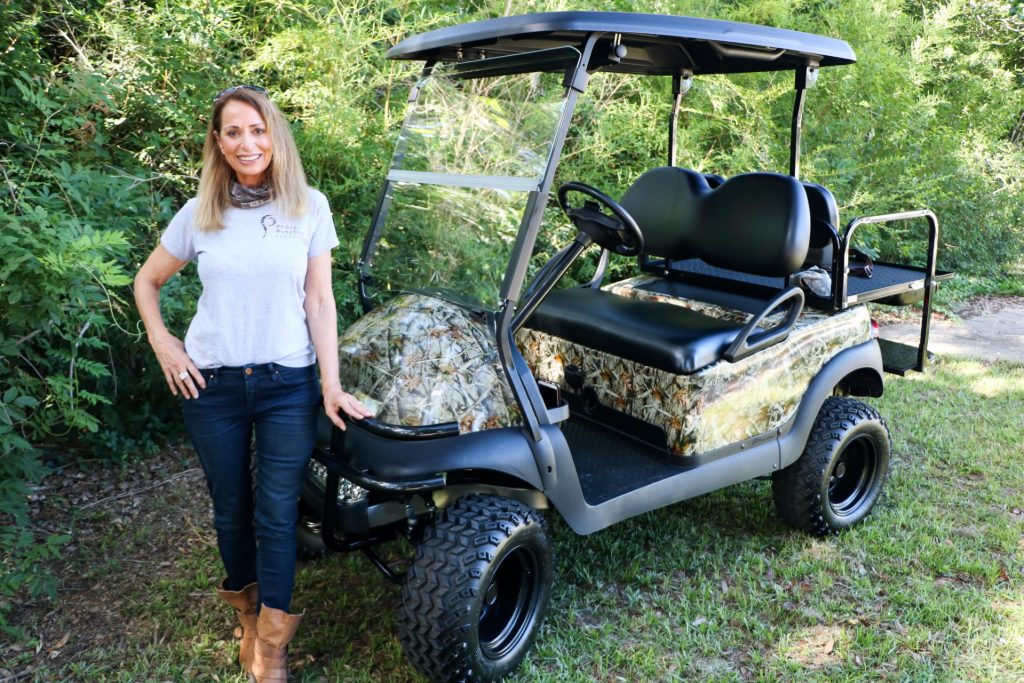 electric hunting golf cart is perfect for the woods