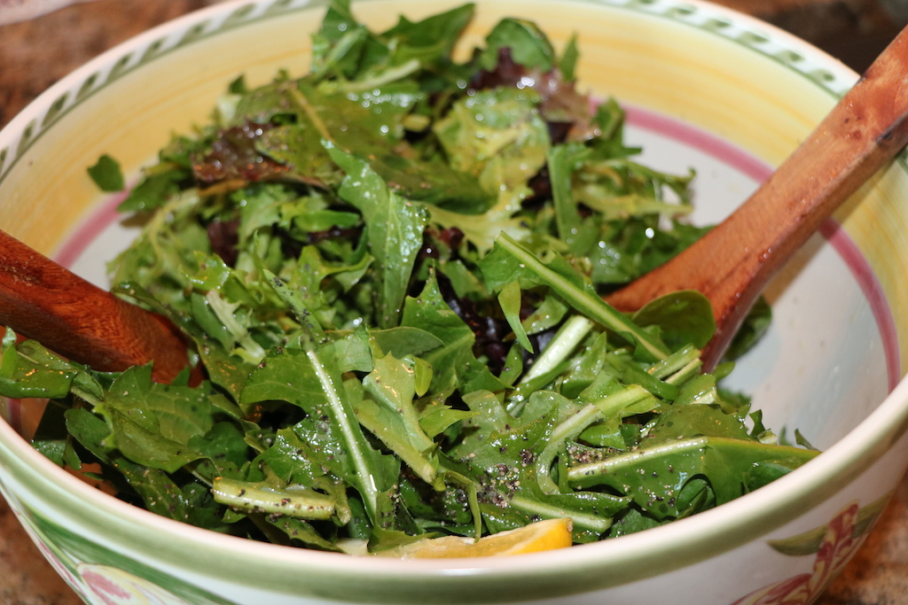 how do you prepare fresh dandelion salad?
