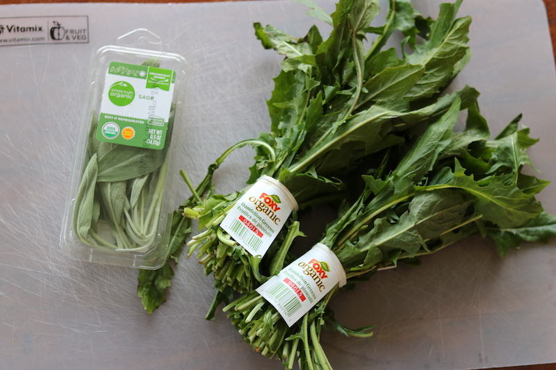 fresh dandelions and fresh sage