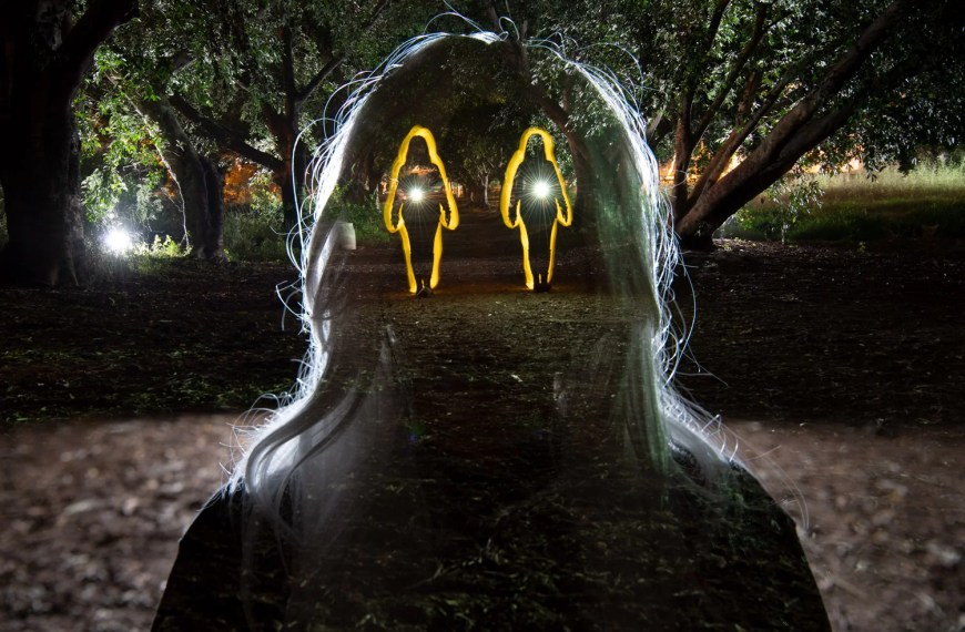 This crazy light painted silhouette was shot in just a single long exposure
