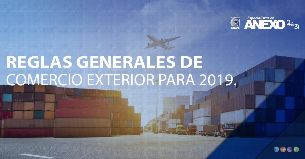 ANEXO 1-A DE LAS REGLAS GENERALES DE COMERCIO EXTERIOR PARA 2019 - Trámites de Comercio Exterior