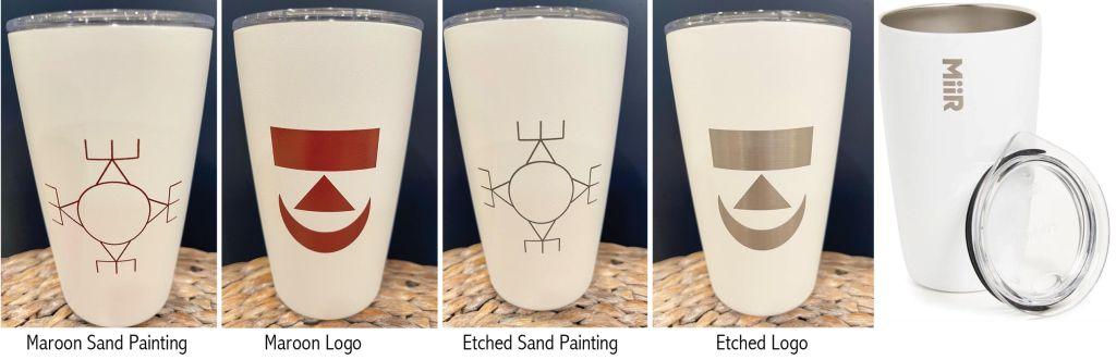 examples of custom Agawam Miir mugs maroon sand painting, maroon logo, etched sand painting, etched log