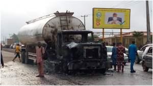 Petrol tanker guts fire near Ogun State Governor's Office