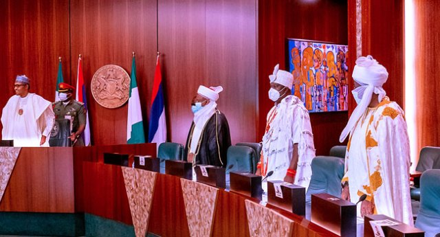 President Buhari Meets With Sultan of Sokoto and Other Traditional Rulers  in Abuja