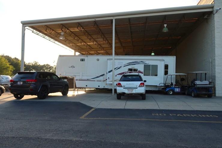RV camper in storage
