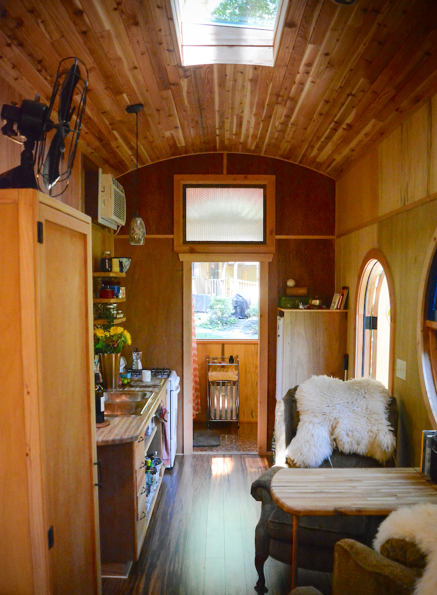 Interior Tiny Home Trailer Kitchen Skylight