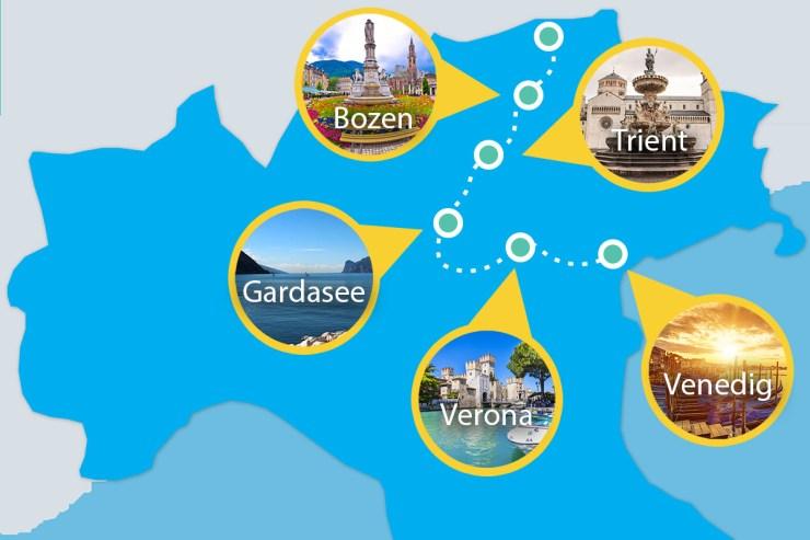 Die Route führt euch entlang des Brenners nach Bozen, Trient und an den Gardasee, bevor ihr Richtung Osten nach Verona sowie Venedig aufbrecht.