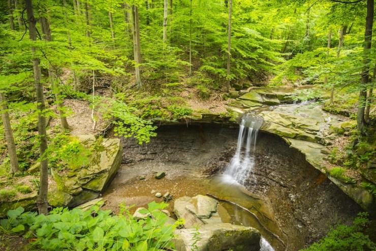 Ein kleiner Wasserfall inmitten eines Waldes im Cuyahoga Valley Nationalpark.