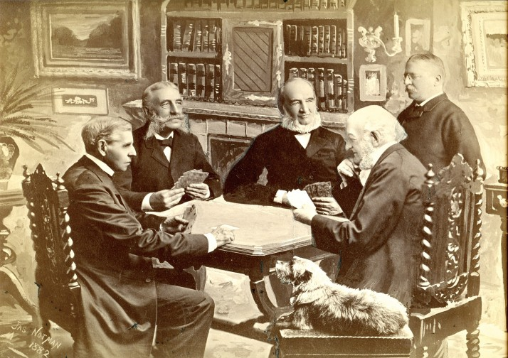Five men and a dog playing cards, a composite photograph.