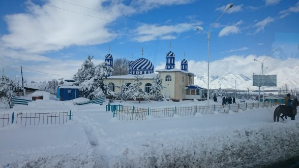 A pretty snowbound Mosque near Karakol