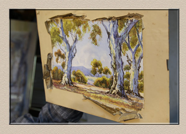 damaged water colour for repairs at Campbelltown Framing Gallery